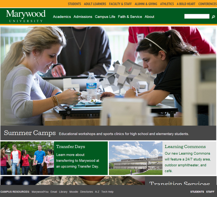 Marywood Website Responsive Design
