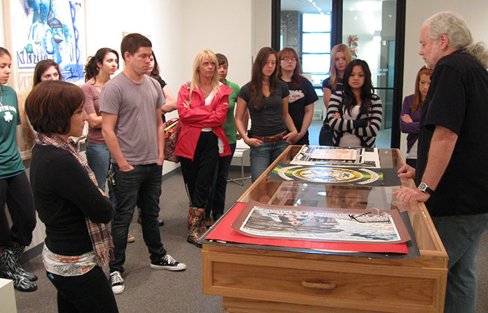arts administration students in gallery