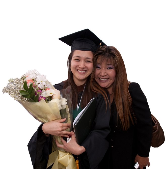 picture of mother and daughter at graduation