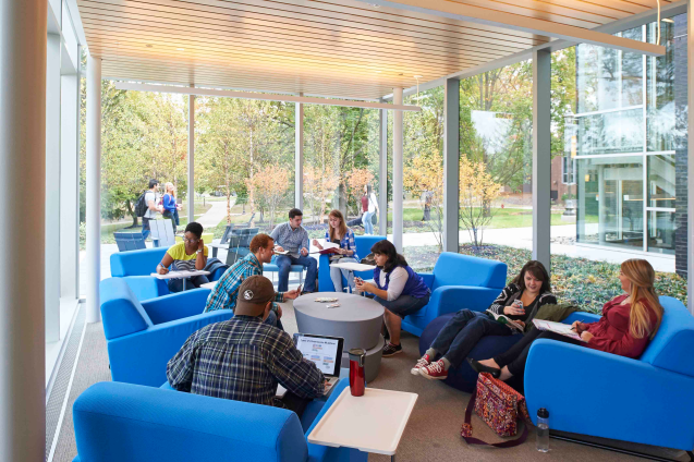 students in learning commons