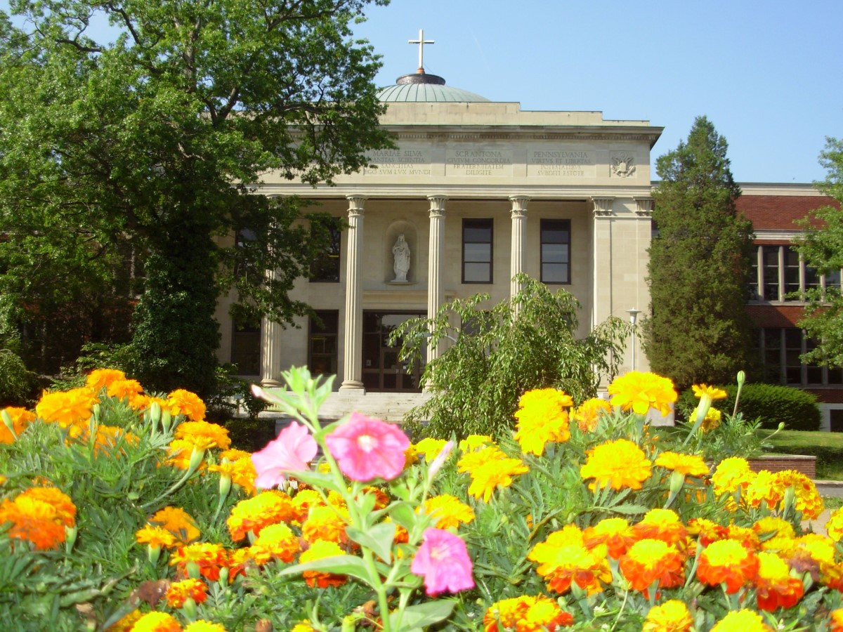 Liberal Arts Center with Spring Flowers