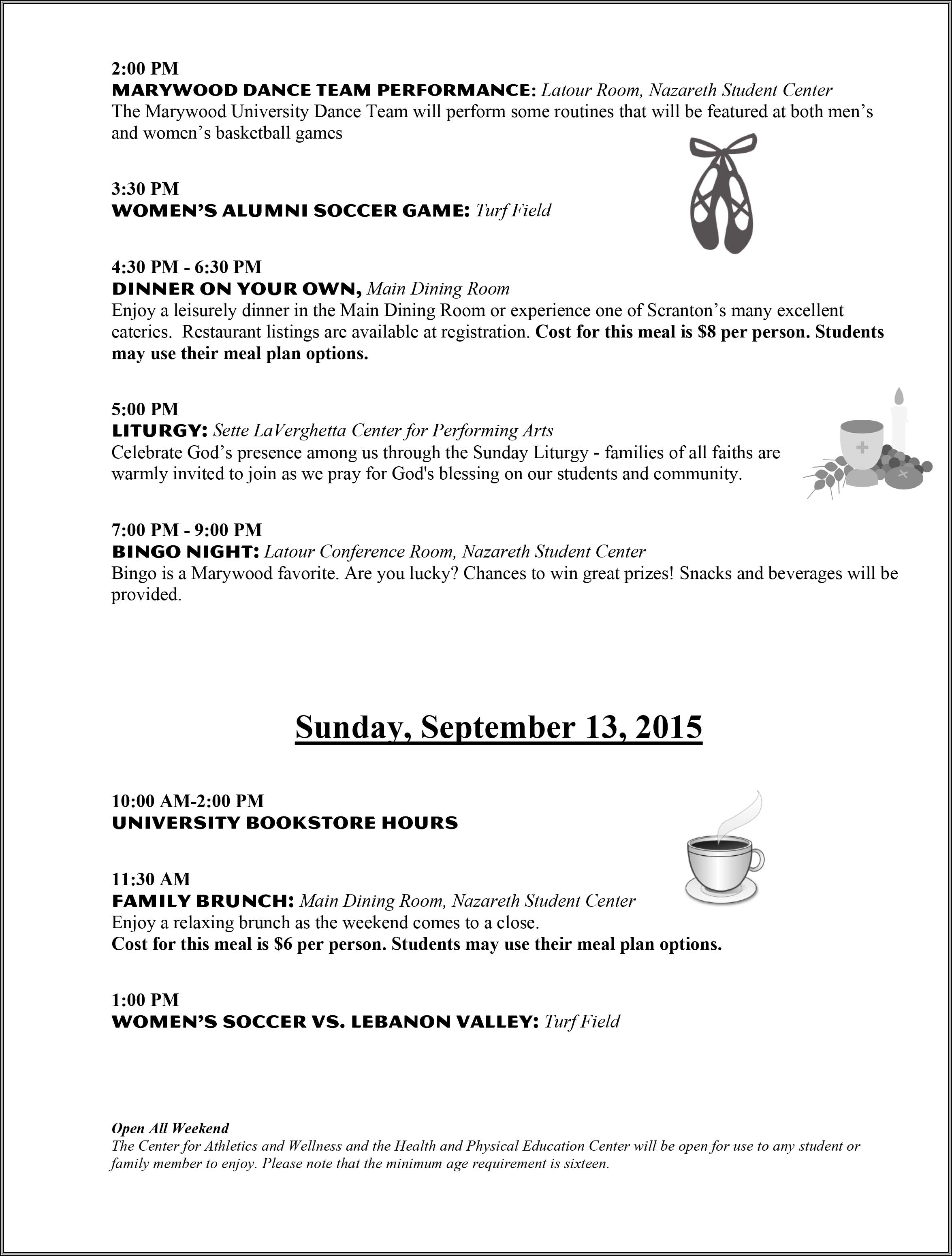 Family Weekend Schedule 2015-2
