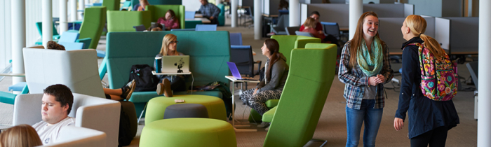 students talk and study in learning commons