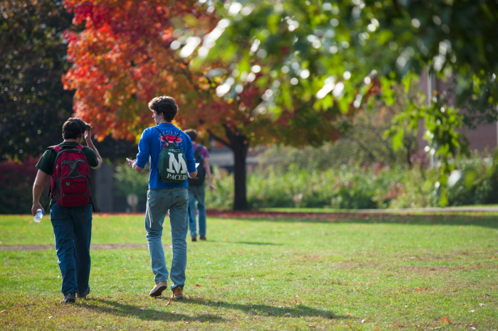 students walking on marywood campus