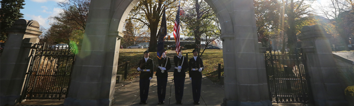 veterans under marywood arch sunset