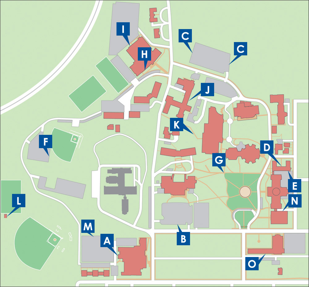 picture of campus map showing call boxes