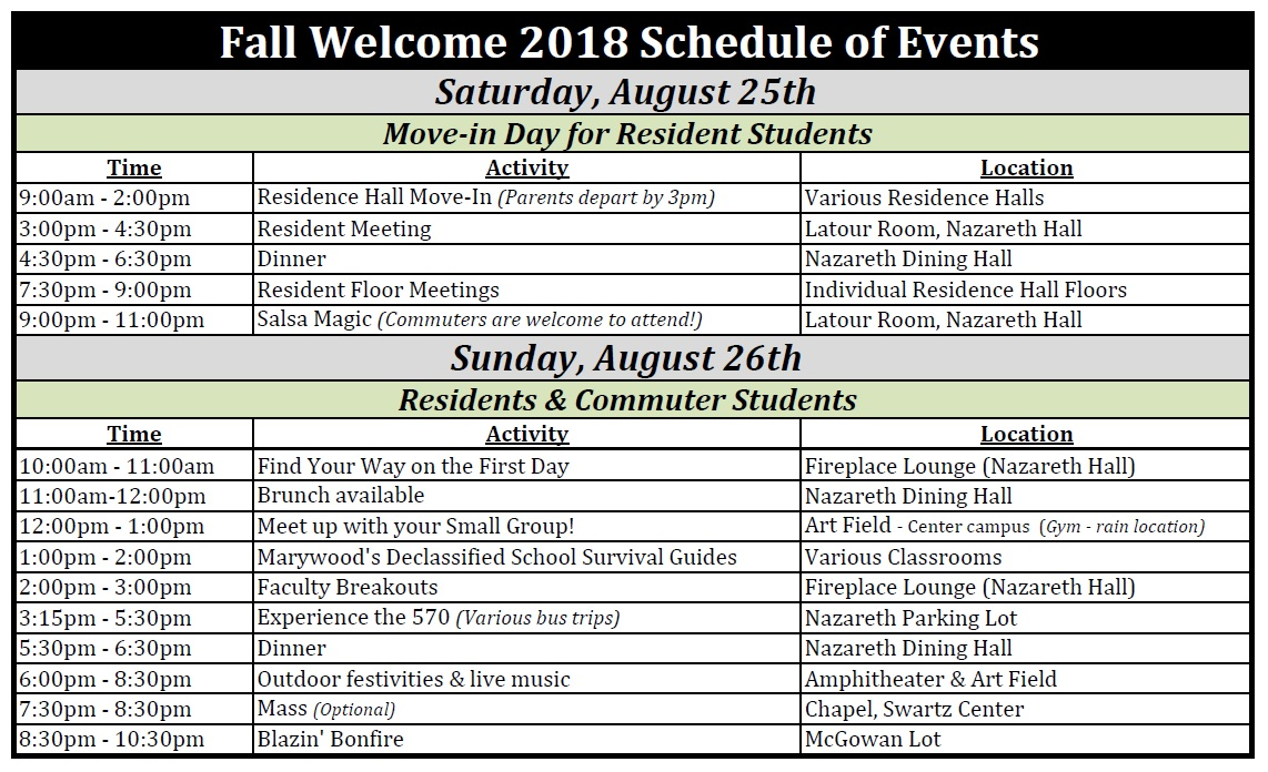 Fall Welcome sched